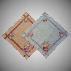 Vintage Hankies 2 Matching Cotton Printed Pink Roses Gray Brown