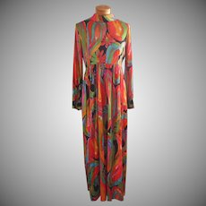 1960s Maxi Dress High Waist Groovy Colors Tricot Knit TLC