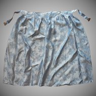 Brocade Apron Filigree Buckle Vintage Blue Satin