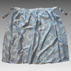 Brocade Apron Filigree Buckle Vintage Blue Satin