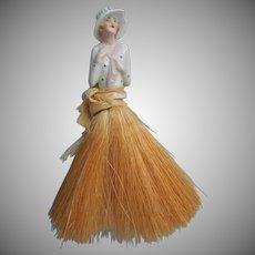 1920s Hat Brush Vintage China Half Doll TLC