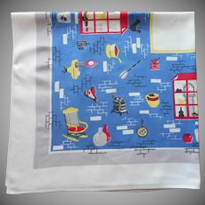 Vintage Tablecloth 1950s Printed Kitchen Cotton Bright Blue
