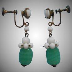 1930s Earrings Vintage Glass Drop Dangle Green White Brass