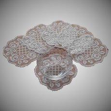 Antique Filet Lace Finger Bowl Doilies Ring Of Roses Motif Set 6