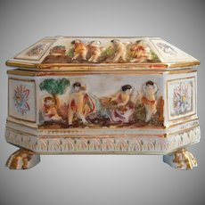 Vintage Capodimonte Box Hand Painted Pottery Italy Cherubs
