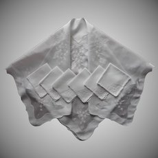 1950s Madeira Organdy Linen Tablecloth Set Napkins Hand Embroidered Appliqued Square