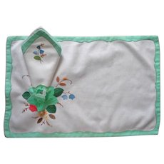 Placemats Napkins Appliqued Hand Embroidered Vintage Cotton