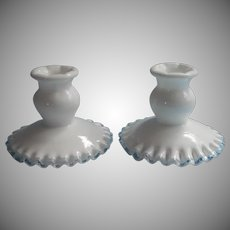 Fenton Silver Crest Candlesticks Pair Glass Vintage Milk White