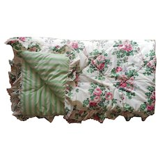 Vintage Laura Ashley Comforter Chintz Roses Ruffle Lace Full Queen