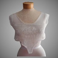 Antique Lace Yoke For Nightgown Chemise Camisole Filet Crocheted