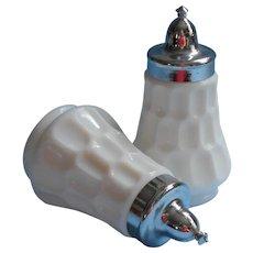 Fenton Thumbprint Milk White Glass Shakers Vintage Salt Pepper Chrome Tops