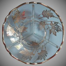 Sterling Silver Overlay Glass Vintage Dish Leaves Divided Relish Nuts 3 Part