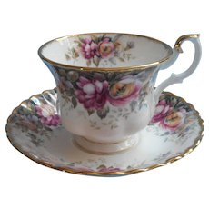 Royal Albert Autumn Roses Cup Saucer English Bone China - Red Tag Sale Item