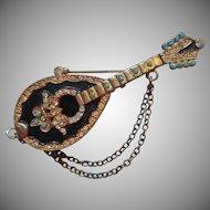 Vintage Mandolin Pin Brooch Book Piece Figural Victorian Revival Enamel