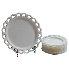 Milk Glass Cake Set Vintage Lace Rim Lacy Anchor Hocking Serving Plate 8 Dessert Plates