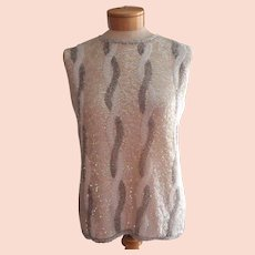 Vintage 1960s Sweater Sleeveless Beaded Glass Beads AB Sequins Medium 38