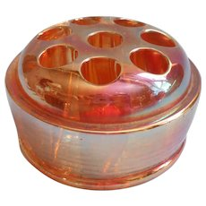 Carnival Luster Vintage Glass Flower Frog Marigold 8 Hole