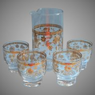 Culver Chantilly Cocktail Pitcher 4 Glasses Set Vintage Barware Midcentury