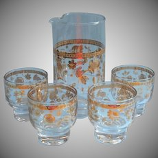 Culver Chantilly Cocktail Pitcher 4 Glasses Set Vintage Barware Midcentury