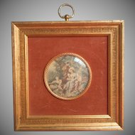 Vintage Print Miniature Convex Glass Velvet Matte Gilt Wood Frame
