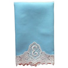 Monogram E Vintage Guest Towel Lace Soft Teal Color Linen