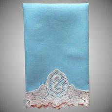 Monogram E Vintage Guest Towel Lace Soft Teal Color Linen