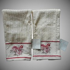Waverly Garden Room Towels Vintage Unused Norfolk Rose Go Along