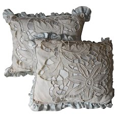 Vintage Satin Cutwork Linen Boudoir Pillows Baby Blue Pair Hand Embroidery