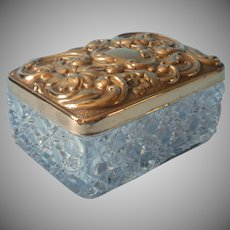 Antique Vanity Box Art Nouveau Gold Colored Brass Pressed Glass