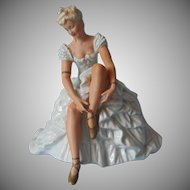 1930s Ballerina Figurine China Wallendorf 1308 0 Vintage Germany Blonde Blue Ruffles