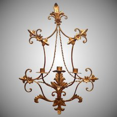 Vintage Italian Gilt Tole Big 3 Candle Sconce Wall Italy Metal