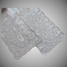 Pair Lace Runners Vintage White And Ecru Cotton 1950s