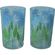 Swanky Swig Glasses Juice Tumblers 2 Blue Cornflower