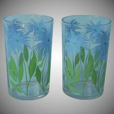 Swanky Swig Glasses Juice Tumblers 2 Blue Cornflower