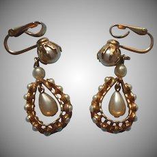 Vintage Earrings Faux Pearl Dangle Clip