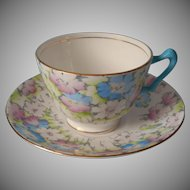 1920s 30s Crown Staffordshire Hand Painted Vintage Cup Saucer Blue Pink Bone China