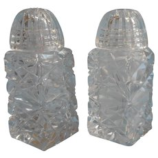 Czech Cut Glass Salt Pepper Shakers Vintage Glass Tops Lids Smaller - Red Tag Sale Item