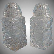 Czech Cut Glass Salt Pepper Shakers Vintage Glass Tops Lids Smaller