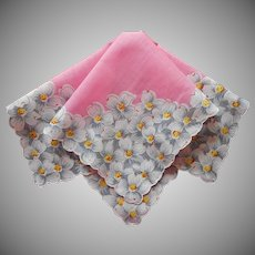 Vintage Hankie Printed Cotton Pink With Dogwood Flowers