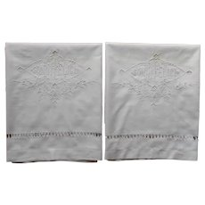 Antique Italian Wedding Layover Pillow Shams Sonni Felici Drawn Work