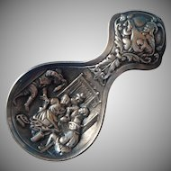 1920s Dutch 800 Silver Tea Caddy Spoon Classic Tavern Scene