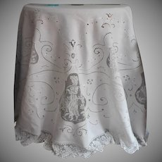 ca 1920 Round Tablelcoth Linen Cutwork Filet Lace Insertion Vintage Hand Embroidery 84 Inches