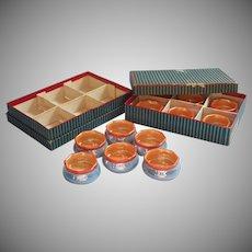 1920s Salt Dips Noritake China Vintage Set 12 Original Boxes Blue Luster Peach Orange