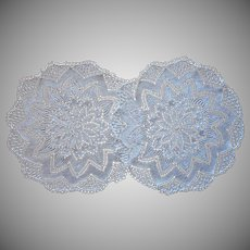 Knitted Lace Lamp Doilies Vintage Pair Finely Done