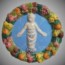 Vintage Italian Della Robbia Decoration Plaque Jesus Italy Pottery