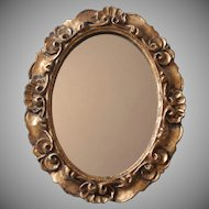 Italian Mirror Wood Gesso Gilt Vintage Italy Midcentury 11.5 x 9.25 Inches