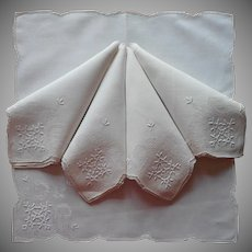 Vintage Napkins Linen Hand Embroidery Drawn Thread Work 5