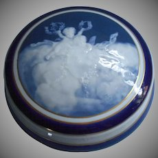Antique French Limoges Camille Tharaud Pate Sur Pate Powder Box Vanity China Blue Cherubs