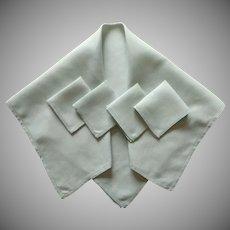 Green Linen Tea Tablecloth Napkins Set Vintage  Pale Mint Simple Classic