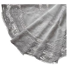 Antique Round Tablecloth Linen Hand Made Bobbin Lace Embroidery 63 Inch